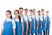 Large group of cleaners standing in a line — Stock Photo