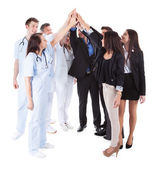 Doctors and managers making high five gesture — Stock Photo