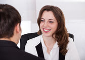 Businesswoman Looking At Candidate During Interview — Stock Photo