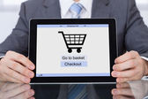 Businessperson Showing Online Shopping Application — Foto de Stock