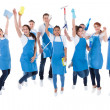 Large excited group of diverse janitors — Stock Photo