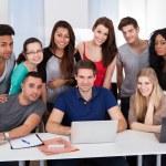 University Students Using Laptop Together — Stock Photo