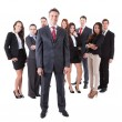Senior business manager standing on front of his team — Foto Stock