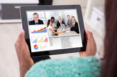 Businesswoman Video Conferencing With Colleagues From Home — Stock Photo