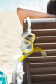 Woman With Scuba Mask Relaxing On Deck Chair — Stock Photo