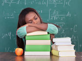 Tired Student Sitting At Classroom — Stock Photo