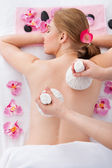 Woman Getting Herbal Compress Ball Therapy — Stock Photo
