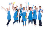 Large excited group of diverse janitors — Stock fotografie