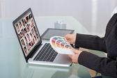 Photo Editor Using Laptop At Desk — Stock Photo