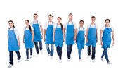 Cleaners walking towards camera — Stock Photo