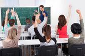 Students Answering Teacher In Mathematics Class — Stock Photo