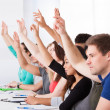 Row Of College Students Raising Hands — Stock Photo #44069603
