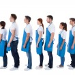 Large group of cleaners standing in a queue — Stock Photo #44069619