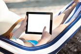 Woman Using Digital Tablet In Hammock — Foto Stock