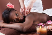 Woman Receiving Shoulder Massage At Spa — Stock Photo