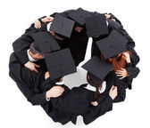 Graduate students standing in circle — Stock Photo