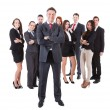 Senior business manager standing on front of his team — Stockfoto
