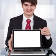Confident Businessman Displaying Laptop At Desk — Stock Photo #44071061