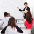 Teacher Teaching Chemical Formulas To College Students — Stock Photo