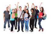 Successful University Students Over White Background — Stock Photo