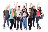 Succesvolle universiteitsstudenten op witte achtergrond — Stockfoto