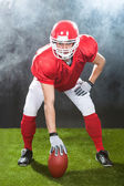 Confident American Football Snapper On Field — Stockfoto