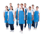 Diverse group of professional cleaners — Stock Photo