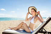 Woman In Bikini Relaxing On Deck Chair — Stock Photo