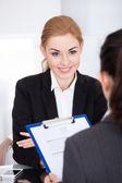 Businesswoman Conducting Interview — Stock Photo
