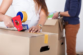 Couple Packing Cardboard Boxes — Stock Photo
