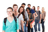 Multiethnic University Students Standing In A Row — Stock Photo