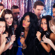 Friends Singing Into Microphones At Karaoke Party — Stock Photo #44588491
