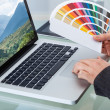 Photo Editor With Color Swatches Working On Laptop — Stock Photo