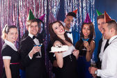 Portrait of happy multiethnic friends celebrating birthday — Stock Photo