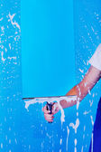 Cropped Image Servant Cleaning Glass With Squeegee — Stock Photo
