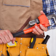 Repairman Holding Pipe Wrench — Stock Photo #44590723