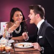 Woman Feeding Man In Restaurant — Stock Photo #44590917