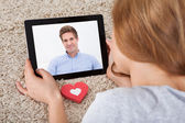 Woman Video Chatting On Digital Tablet — Stock Photo