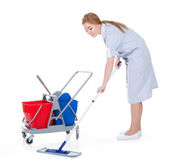 Female Maid Cleaning Floor — Stock Photo