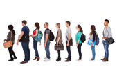 Multiethnic College Students Standing In A Row — Stock Photo