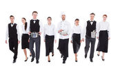 Large group of waiters and waitresses — Stock Photo
