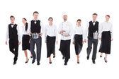 Large group of waiters and waitresses — Stock Photo