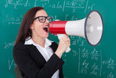 Angry Teacher Shouting Through Megaphone — Stock Photo