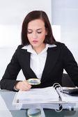 Auditor Scrutinizing Financial Documents — Stock Photo
