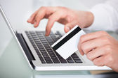 Man Shopping With Credit Card And Laptop — Stock Photo