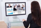 Businesswoman Having Video Conference — Stock Photo