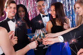 Happy Friends Toasting Drinks At Nightclub — Foto de Stock
