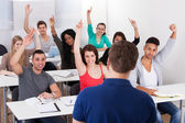 University Students Answering Teacher — Stock Photo