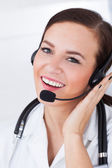 Confident Female Doctor Wearing Headset — Stock Photo