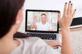 Young Woman Using Laptop For Videochatting — Stock Photo
